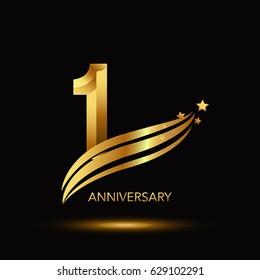 1 Year Anniversary Celebration Design. - gold swoosh and star on black background