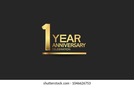 1 year anniversary celebration with elegant golden color isolated on black background