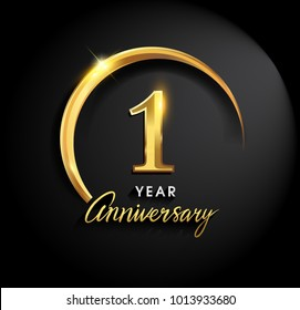 1 year anniversary celebration. Anniversary logo with ring and elegance golden color isolated on black background, vector design for celebration, invitation card, and greeting card