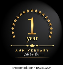 1 year anniversary celebration. Anniversary logo with stars and elegant golden color isolated on black background, vector design for celebration, invitation card, and greeting card