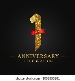 1 year anniversary celebration logotype. Logo ribbon golden number on black background.