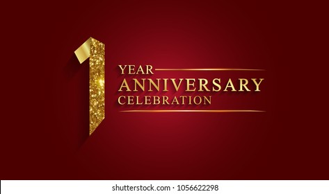 1 year anniversary celebration logotype. Logo,ribbon golden number on red background.Numbers ribbon gold foil.