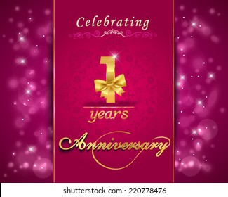 1 year anniversary celebration sparkle design, 1st anniversary decorative bow ribbon, vibrant background, invitation card - vector eps10