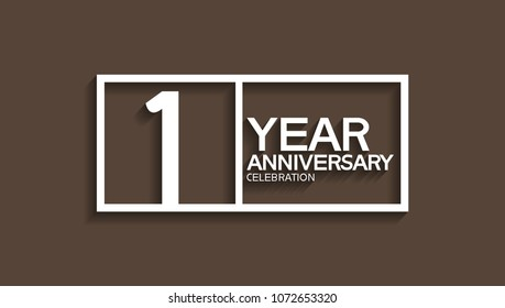1 year anniversary celebration white square style isolated on brown background
