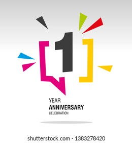 1 Year Anniversary colorful white modern logo icon banner