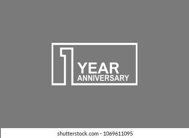 1 year anniversary line style white color in square isolated on gray color for celebration