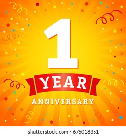 1 year anniversary logo celebration card. 1st year anniversary vector background with red ribbon and confetti on yellow flash radial lines