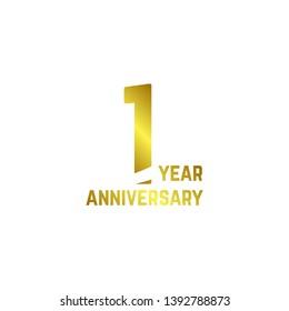 1 Year Anniversary Logo Vector Template Design Illustration