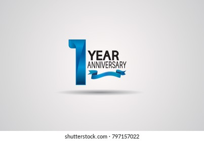 1 year anniversary logotype design with blue color and ribbon isolated on white background for celebration event