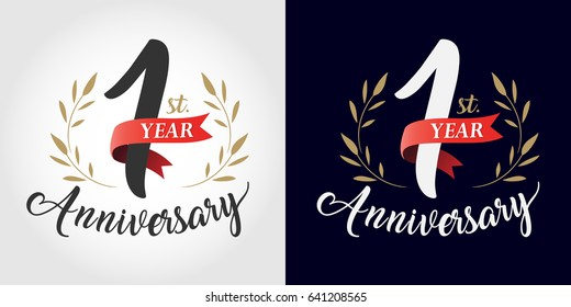 1 year anniversary number hand lettering and golden laurel wreath. Handmade calligraphy, Vintage style