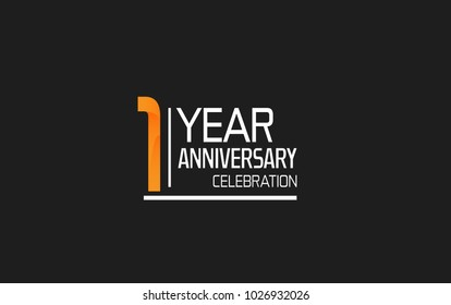 1 year anniversary simple design celebration with orange color and white isolated on black background