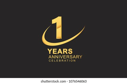 1 year anniversary with swoosh design golden color isolated on black background for celebration