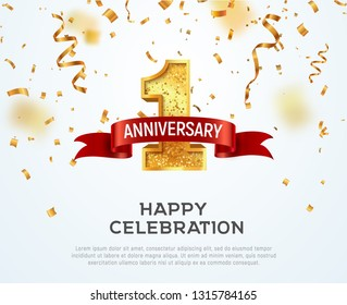 1 year anniversary vector banner template. First jubilee with red ribbon and confetti on white background