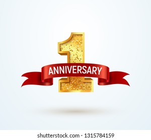 1 year anniversary vector isolated design element . First jubilee with red ribbon on white background