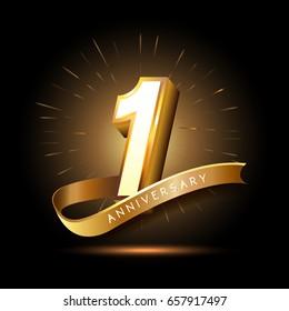 1 Jahr goldenes Jubiläumlogo mit Feuerwerk und Band
