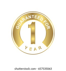 1 year guaranteed sticker with gold color icon