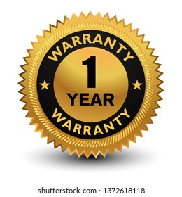 1 year warranty Badge - banner, sticker, tag, icon, stamp, label.