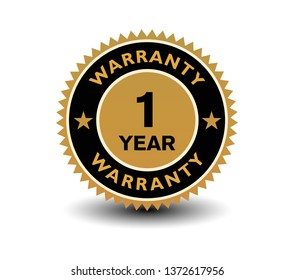 1 year warranty with gold badge. Isolated on white background.