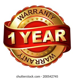 1 year warranty golden label with ribbon.  Vector illustration.