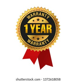 1 Year warranty Golden Medal, Label, Seal, red ribbon Isolated on White Background