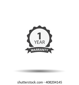 1 year warranty icon isolated on white background