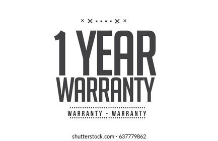 1 year warranty icon vector vintage grunge black guarantee background