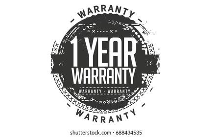 1 year warranty icon vintage rubber stamp guarantee