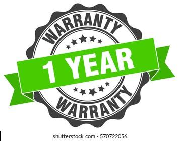 1 year warranty. stamp. sticker. seal. round grunge vintage ribbon 1 year warranty sign
