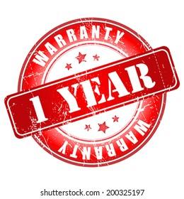 1 year warranty stamp.  Vector illustration.