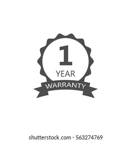 1 year warranty word on circle jagged edge and ribbon badge vector. Minimalist style, black and white color.