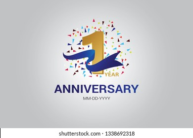 1 years anniversary blue ribbon celebration logotype. anniversary logo with golden and Spark light white color isolated on black background, vector design for celebration, invitation card-vector