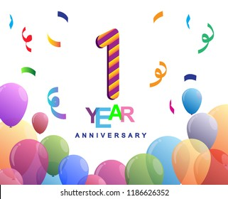 1 years anniversary celebration with colorful balloons and confetti, colorful design for greeting card birthday celebration