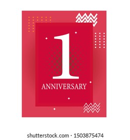 1 years anniversary celebration event,Anniversary banner ceremony design for 1 year age with background pink