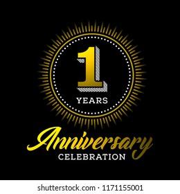1 years anniversary celebration gold logo