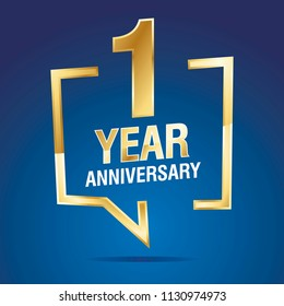 1 Years Anniversary gold white blue logo icon