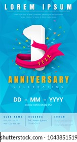 1 years anniversary invitation card or emblem - celebration template design , 1st anniversary modern design elements with  background polygon and pink ribbon - vector illustration.