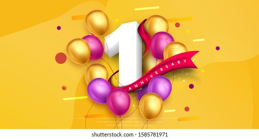 1 years anniversary logo template design on yellow background and balloons. 1st anniversary celebration background with red ribbon and balloons. Party poster or brochure template. Vector illustration.