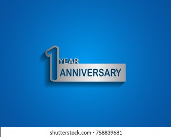 1 years anniversary logotype with outline number silver color on blue background