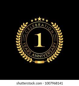 1 Years Golden Anniversary Logo Template with Laurel Wreath Vector Illustration