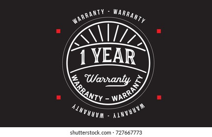 1 years warranty icon vintage rubber stamp guarantee