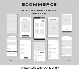 "10 in 1 UI kits. Wireframes screens for your mobile app. GUI template on the topic of ""ecommerce"". Development interface with UX design. Vector illustration. Eps 10"