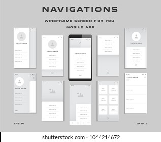 """10 in 1 UI kits. Wireframes screens for your mobile app. GUI template on the topic of """"navigations """". Development interface with UX design. Vector illustration. Eps 10"""