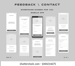 """10 in 1 UI kits. Wireframes screens for your mobile app. GUI template on the topic of """"feedback \ contact"""". Development interface with UX design. Vector illustration. Eps 10"""