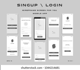 "10 in 1 UI kits. Wireframes screens for your mobile app. GUI template on the topic of ""singup \ login"". Development interface with UX design. Vector illustration. Eps 10"