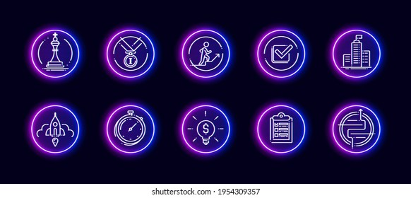10 in 1 vector icons set related to career evolution theme. Lineart vector icons in neon glow style isolated on background.