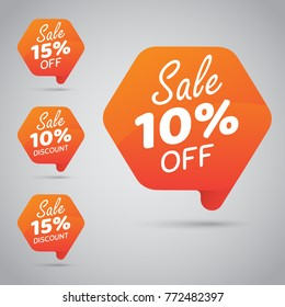 10% 15% Sale, Disc, Off on Cheerful Orange Tag for Marketing Retail Element Design