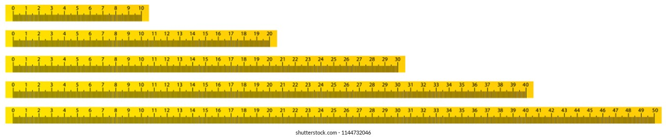 10, 20, 30, 40 and 50cm yellow school measure ruler. metric measurement.