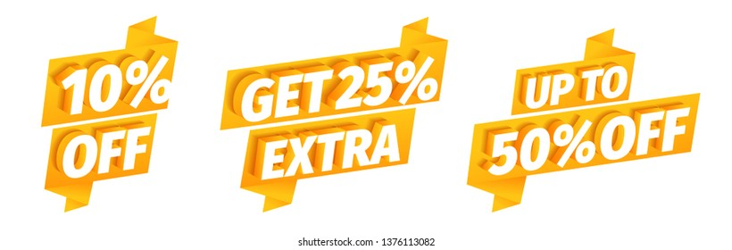 Up to 10 25 50 percent off. Get extra sale. Discount set. Word on a orange golden type background. Advertising promotion special offer. Vector Illustration clipart.