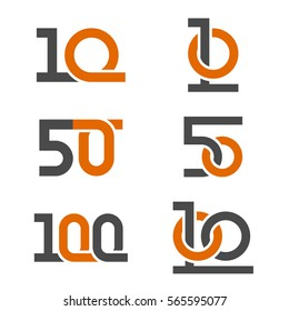 10 50 100 anniversary number vector