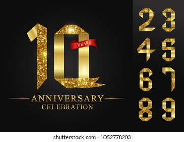 10 - 90 years anniversary, 0 - 9 Numbers. Numbers golden ribbons on black background and red ribbon, vector design for invitation card, greeting card.